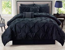 rochelle pinched pleat black comforter