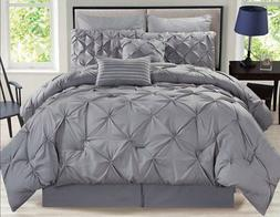 rochelle pinched pleat gray comforter