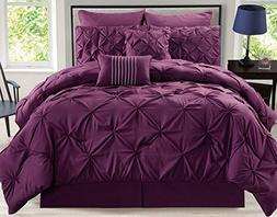 KingLinen 8 Piece Rochelle Pinched Pleat Plum Comforter Set
