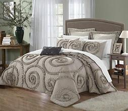 Chic Home 7-Piece Rosalia Ruffled Etched Embroidery Comforte