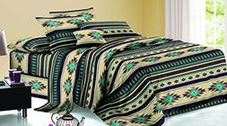 Rustic Western Southwest Native American Design 4 Piece Comf