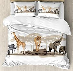Ambesonne Safari Duvet Cover Set Queen Size, Illustration of