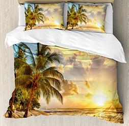 Ambesonne Scenery Decor Duvet Cover Set, Tropic Sandy Beach