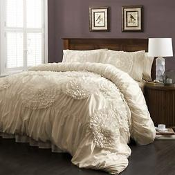 Lush Decor Serena 3-Piece Comforter Set, Queen, Ivory