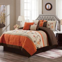 Chezmoi Collection Serene 7-Piece Floral Scroll Embroidery S