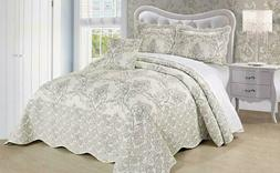 Serenta Damask 4 Piece Bedspread Set, King, Antique White
