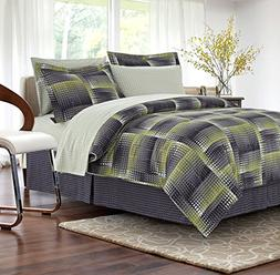Brown & Grey Shadow Box Lime 8-Piece Bed-in-Bag, Queen