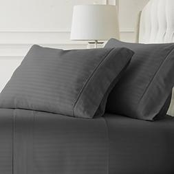 Simply Soft 4 Piece Sheet Set Embossed Dobby Stripe Pattern,