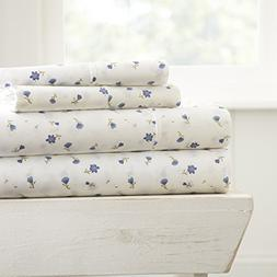 Simply Soft 4 Piece Sheet Set Floral Patterned, Queen, Soft