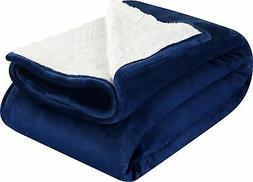 Sherpa Flannel Fleece reversible blankets - Navy- Extra Soft