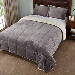 3-Piece Sherpa Reversible Down Alternative Comforter Set wit