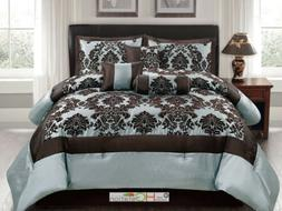 7-Pc Silky Poly-Satin Flocking Damask Floral Square Comforte