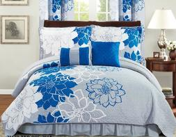 Six  Piece Printed Floral Comforter Set-Blue and Grey-Queen