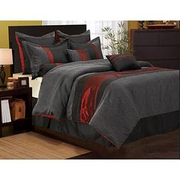 7 Piece Solid Geometric Design Comforter Set Queen Size, Fea