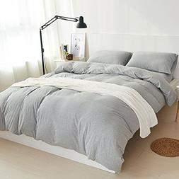 MisDress Jersey Knit Cotton Duvet Cover Set Queen Full Size