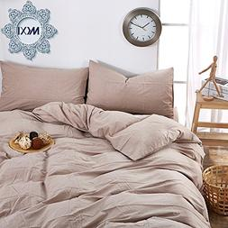 MKXI Solid Khaki Elegant Bedding 100-Percent Natural Washed