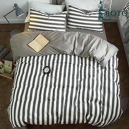 ORoa Striped Boys Queen Duvet Cover Sets Black and White 3 P