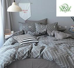 LifeTB Striped Duvet Cover Queen with Grey Stripes Print Que