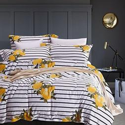 Wake In Cloud - Striped Duvet Cover Set, 100% Cotton Bedding
