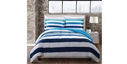 3 Piece Teal Blue White Rugby Stripes Comforter Full Queen S