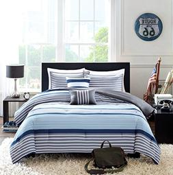 Teen Boys Bedding Rugby Stripe Blue Gray White Green FULL QU