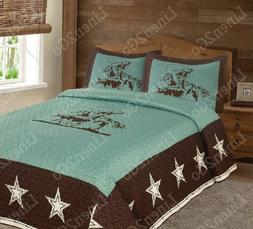 Texas Rustic Rodeo Cowboy Star Western Quilt Bedspread Comfo