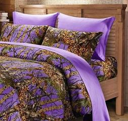 The Woods PURPLE Camo Full Queen Size Camoflage Comforter Be