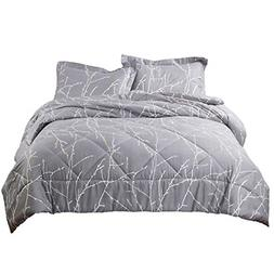 Bedsure Tree Branch Floral Comforter Set Full/Queen Size Gre