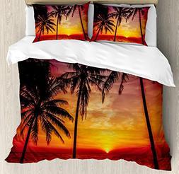Tropical Decor Queen Size Duvet Cover Set by Ambesonne, Suns
