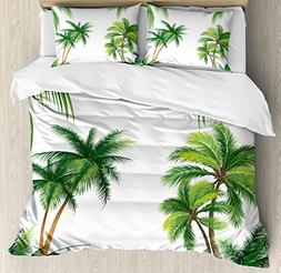 Ambesonne Tropical Duvet Cover Set, Coconut Palm Tree Nature