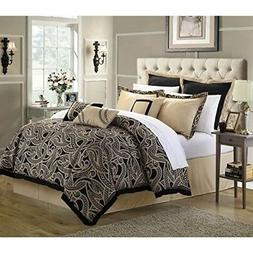 Chic Home 8-Piece Turin Reversible Comforter/Quilt Set, Quee