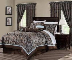 Tuscany 7-Piece Blue Brown Paisley Floral Jacquard Comforter