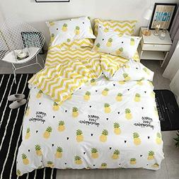 VClife Twin Queen Bedding Set Modern Pineapple Fruit Printed
