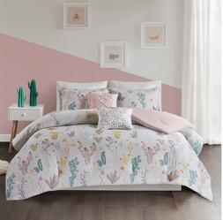 Twin XL Full Queen Bed Green White Pink Yellow Cactus Floral