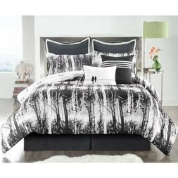 Twin XL Full Queen King Bed Black White Trees Branches Natur