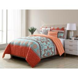 Twin XL Full Queen King Bed Orange Blue Paisley Boho Medalli