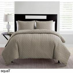 Twin XL Full Queen King Bed Taupe Brown Textured Geometric 3