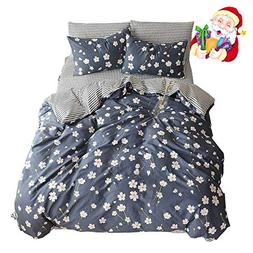 BuLuTu Vintage Floral 3 Pieces Girls Duvet Cover Set Queen E