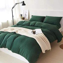 DOUH Jersey Knit Cotton Duvet Cover Set 3-Pieces Full Comfor