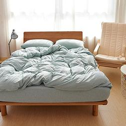 DOUH Ultra Soft Jersey Knit Cotton 3 Pieces Duvet Cover Set