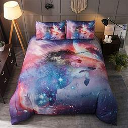 Unicorn Galaxy Comforter Set Queen Size,Oil Printing Outer S