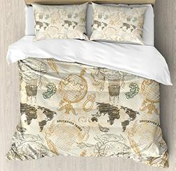 Ambesonne Wanderlust Decor Duvet Cover Set Queen Size, Vinta