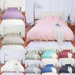 Washed Cotton Bedding Set Comforter Duvet Cover Pillowcase B