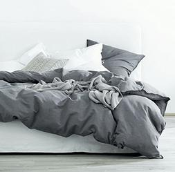 Washed Cotton Chambray Duvet Cover Solid Color Casual Modern