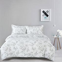 Wake In Cloud - White Floral Comforter Set Queen, 3-Piece Vi