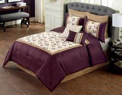 8 Piece Whitney Purple/Ivory Comforter Set Queen