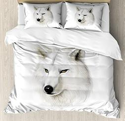 Ambesonne Wolf Duvet Cover Set Queen Size, White Canine Head