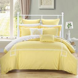 Chic Home Woodford 7 Piece Embroidered Comforter Set, Yellow