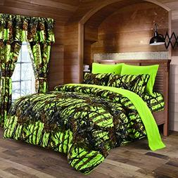 Lime Camouflage Queen Size 8pc Comforter, Sheet, Pillowcases