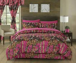 FULL SIZE PINK CAMO BEDDING 6 PC CURTAINS AND COMFORTER CAMO